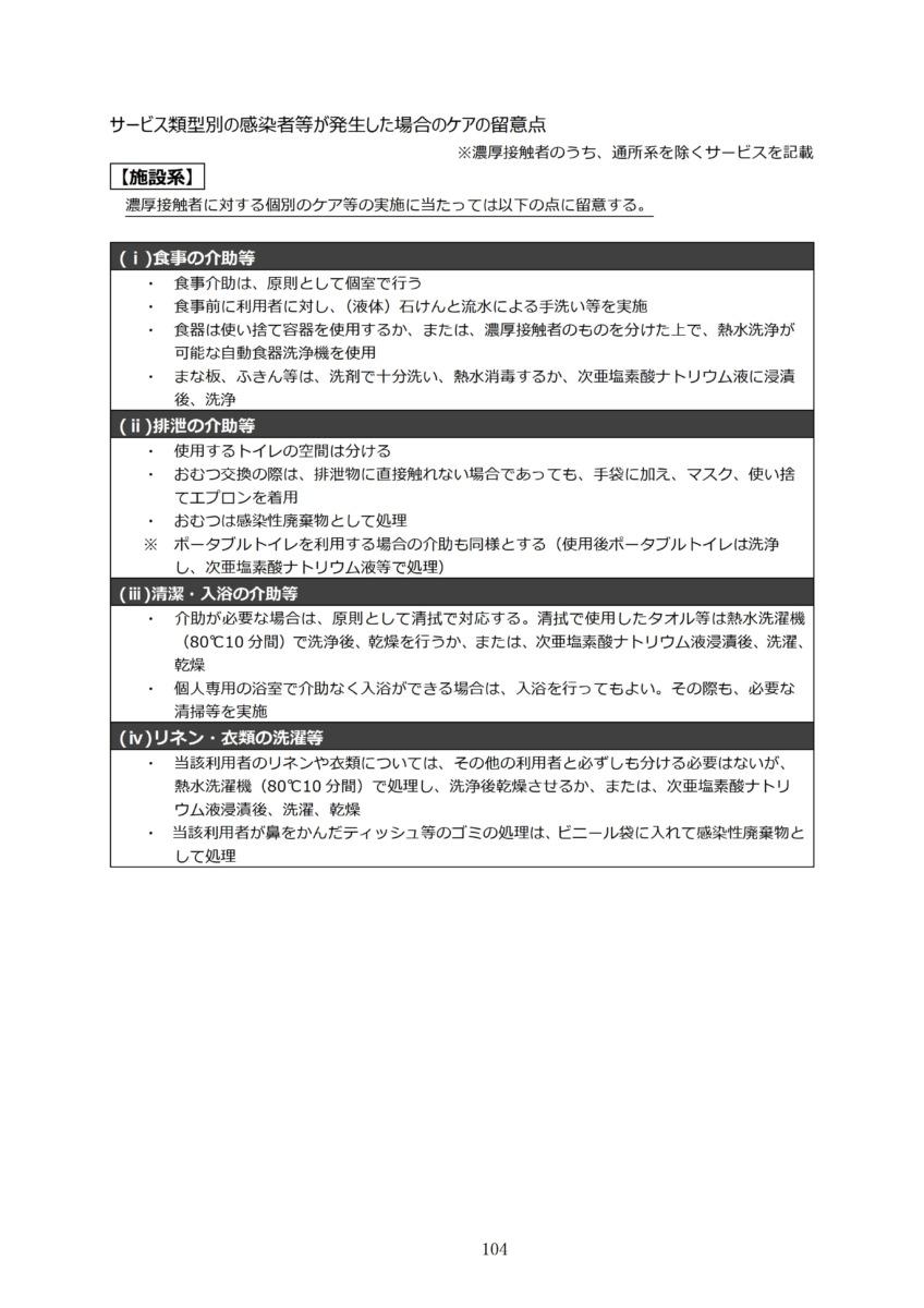 P107 介護現場における感染対策の手引き|厚労省2020/10/1